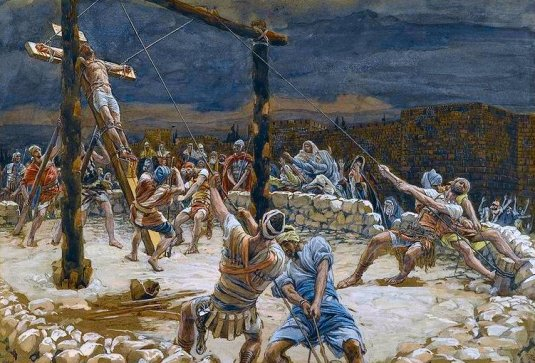 Raising of the Cross, by Tissot