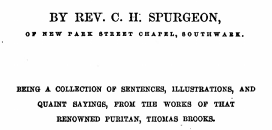 Spurgeon book on Thomas Brooks
