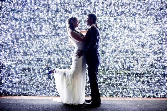 wedding bride groom 1 million lights
