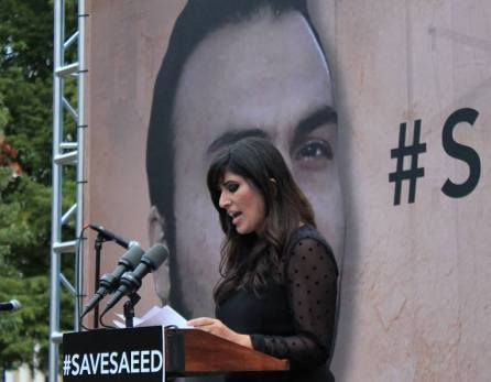 Naghmeh Abedini pledeaza pentru sotul ei, Saeed la Washington Septembrie 2015 Photo Christian Post