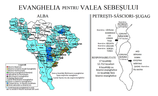 Zone si localitati fara biserici evanghelice in Valea Sebesului