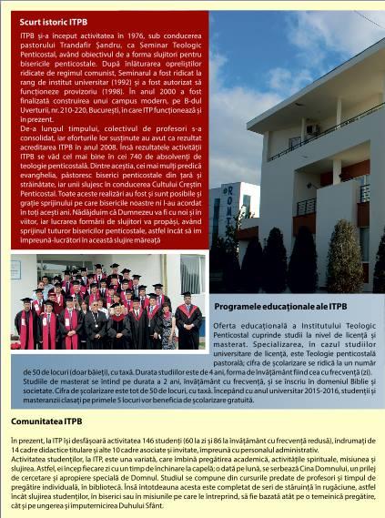 Foaie de Informare Institutul Teologic Penticostal Bucuresti Mai 2015