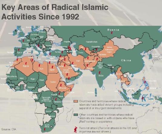 Tarile cu activitate islamica radicala