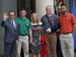 From left, French President Francois Hollande, U.S. National Guardsman from Roseburg, Ore., Alek Skarlatos, U.S. Ambassador to France Jane D. Hartley, Spencer Stone, AlekSkarlatos