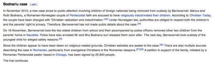 Cazul familiei Bodnariu in Wikipedia