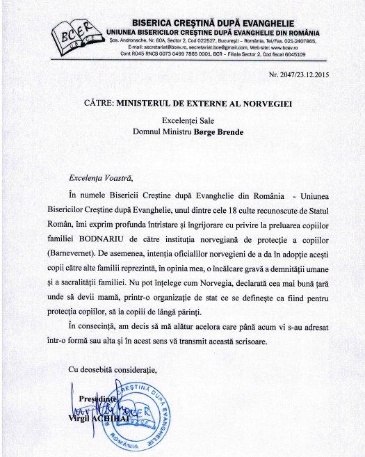 Biserica Crestina dupa Evanghelie din Romania implicata in rezolvarea cazului familiei