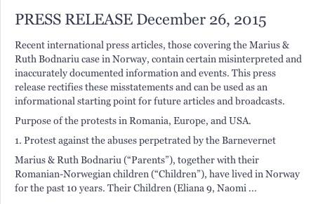 Bodnariu Family Press Release 26 december