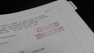 Legal deposition transcript document denunt