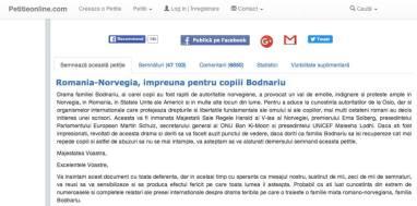 Petitie noua Romania-Norvegia, impreuna pentru copiii Bodnariu