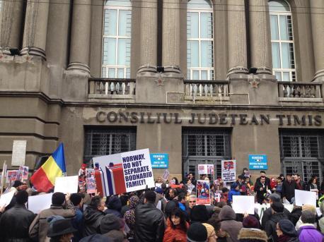 Protest Bodnariu la Consiliul Judetean Timisoara