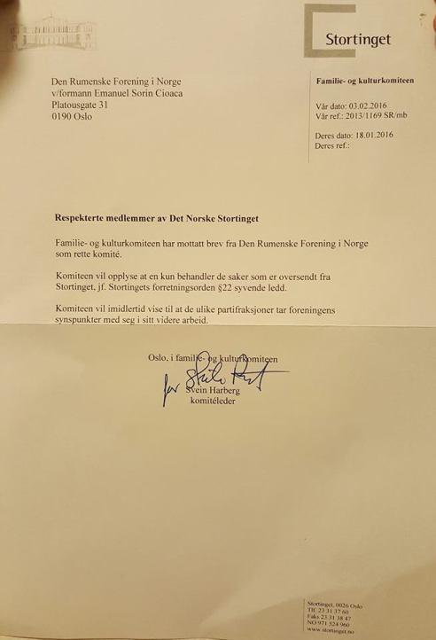 RĂSPUNS LA SCRISOAREA TRIMISĂ PARLAMENTULUI NORVEGIAN de către Asociația Românilor din Norvegia