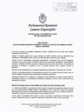 Declarația privind protecția drepturilor cetățenilor români și a minorilor de cetățenie română aflați în străinătate, adoptată de membrii Comisiei pentru comunitățile de români din afara granițelor țării. 1