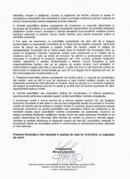 Declarația privind protecția drepturilor cetățenilor români și a minorilor de cetățenie română aflați în străinătate, adoptată de membrii Comisiei pentru comunitățile de români din afara granițelor țării. 2