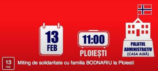 Miting de solidaritate cu familia Bodnariu la Ploiesti