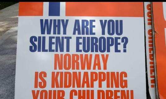 Why are you silent Norway is kidnapping your children Protest Madrid 27 februarie 2016 2