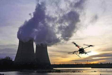 stock photo- drone flies near nuclear plant. Photo credit nuclearnewsaustralia.wordpress.com