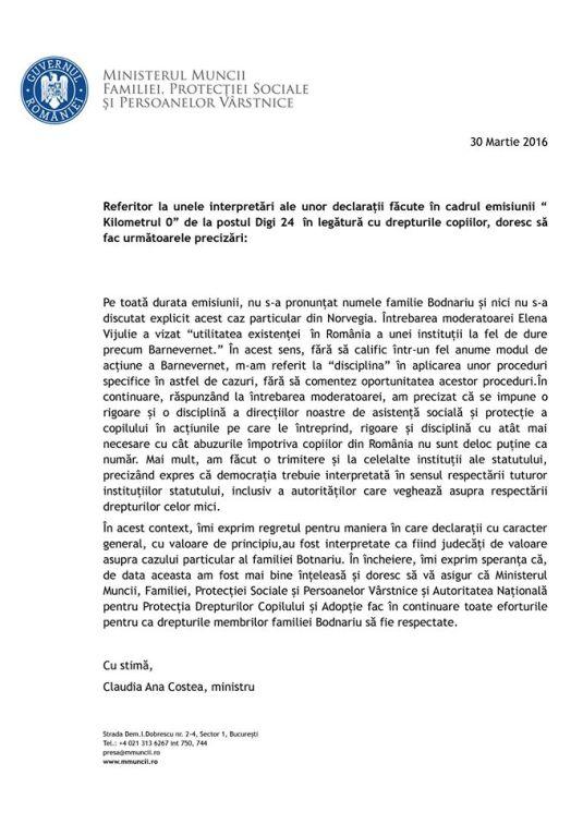 Scrisoare de la Ministrul Muncii Claudia Ana Costea