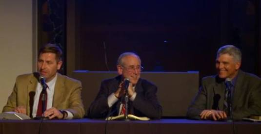 Michael Vlach, Mitch Glaser, Mark Saucy - Israel and the Church. Photo credit Biola University