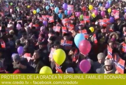 Oradea, Romania Moment special la Protestul de sustinere a familiei Bodnariu