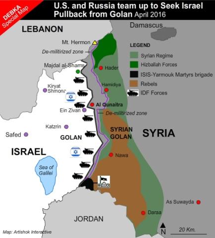 harta Golan heights Israel Siria map