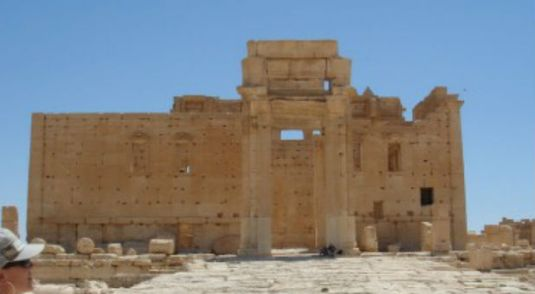 Everything was on track for reproductions of the giant 48-foot-tall arch that stood in front of the Temple of Baal in Palmyra, Syria, to be put up simultaneously in Times Square in New York City and Trafalgar Square in London during the month of April. (Courtesy)