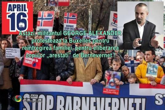 George Alexander protest la Bruxelles in 16 aprilie