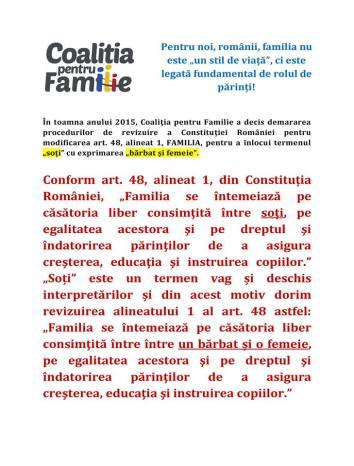 Coalitia pentru familie initiativa schimbare art. 48 constitutie