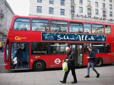 """Campanie islamica in LONDRA: Reclame cu """"GLORIE LUI ALLAH!"""" - afisate pe autobuze"""