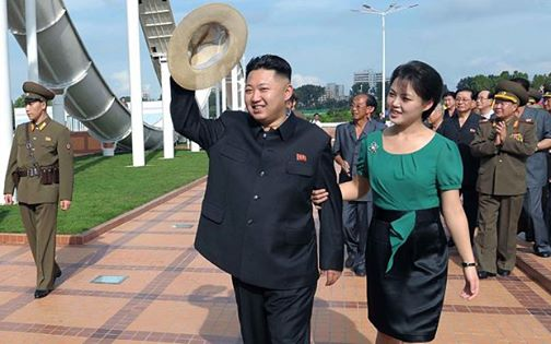 Kim Jong-un with his wife Ri Sol-ju in Pyongyang (AP)