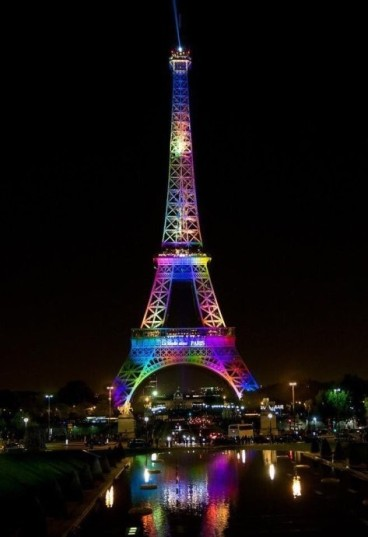Eiffel Tower in rainbow colors following Orlando massacre.