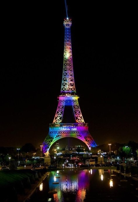 Eiffel Tower in rainbow colors following Orlando massacre.