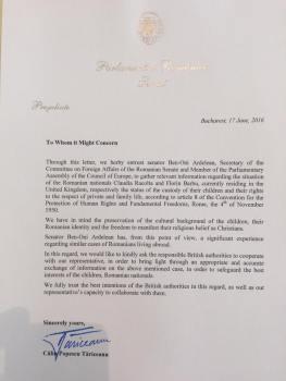 Scrisoare de la Calin Popescu Tariceanu Presedintele Senatului