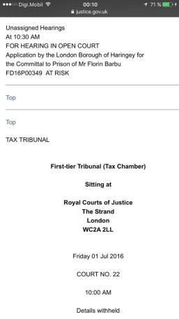 Florin Barbu Open Hearing Royal Court London July 1, 2016