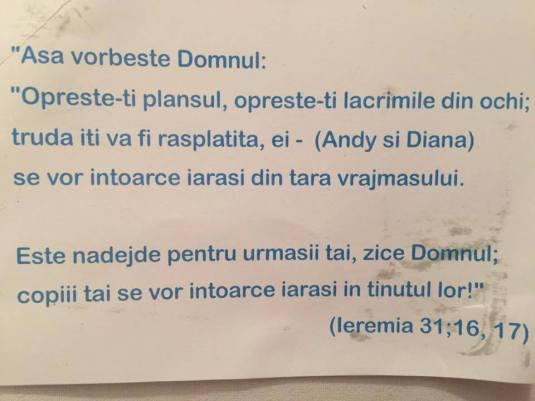 Florin Barbu Proteast Bucuresti 1 Verset biblic pentru Andy si Diana Barbu