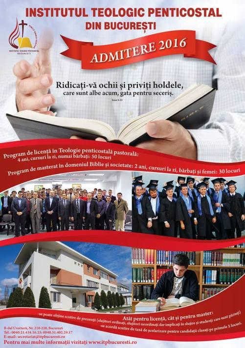 Institutul Teologic Penticostal - Concurs de admitere pentru programul de studii de licenţă