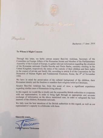Scrisoare de la Calin Popescu Tariceanu