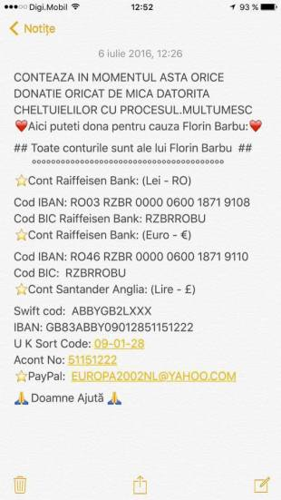 Florin Barbu cont ajutor si sprijin financiar