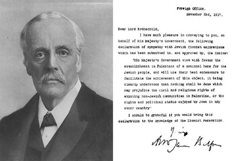 Balfour portrait and declaration 1917 FOTO Wikipedia