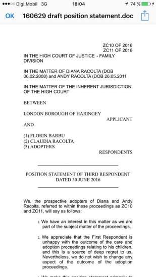 Florin Barbu Position Statement of Third respondent