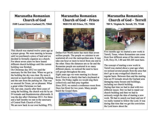 Maranatha Romanian Church of God Texas