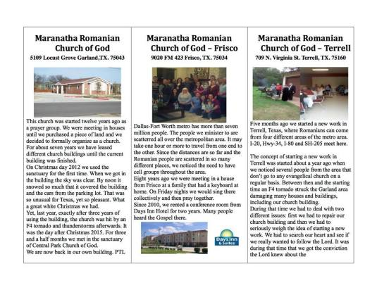 Maranatha Romanian Church of God Texas