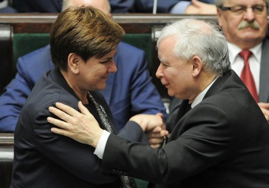 Leader of the ruling Law and Justice party, Jarosław Kaczyński, right, and the prime minister, Beata Szydło, congratulate each other after MPs passed a new law on the constitutional court. Photograph: Alik Kęplicz/AP