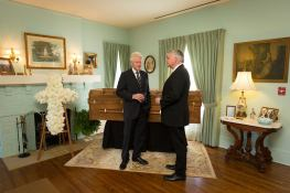 Bill Clinton with Franklin Graham at Billy Graham's funeral