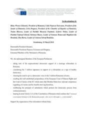 40 de europarlamentari s-au adresat celor mai înalte oficialităţi ale statului român, referendum 1