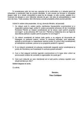 Titus Corlatean - Interpelare adresata Ministrului Educatiei- Preocupari fata de promovarea ideologiei Transgender:LGBT in sistemul educational romanesc 2